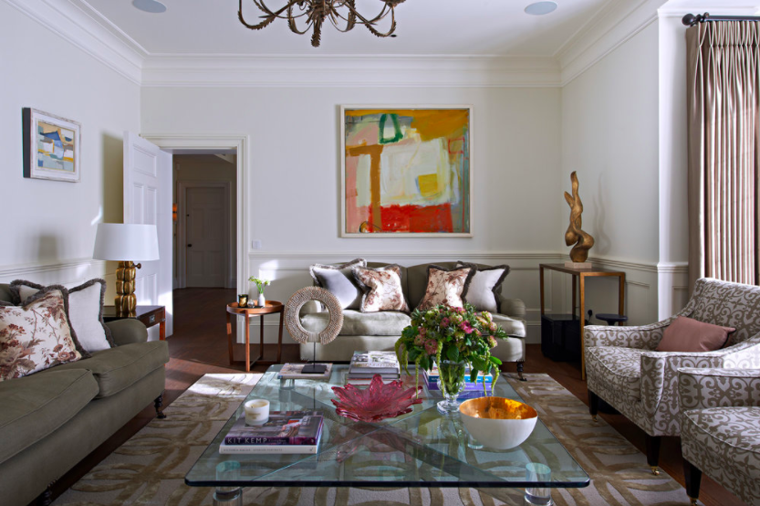 Family Home London designed by Rebecca Hughes Interiors featuring artwork by Chloe Lamb available from Cricket Fine Art.