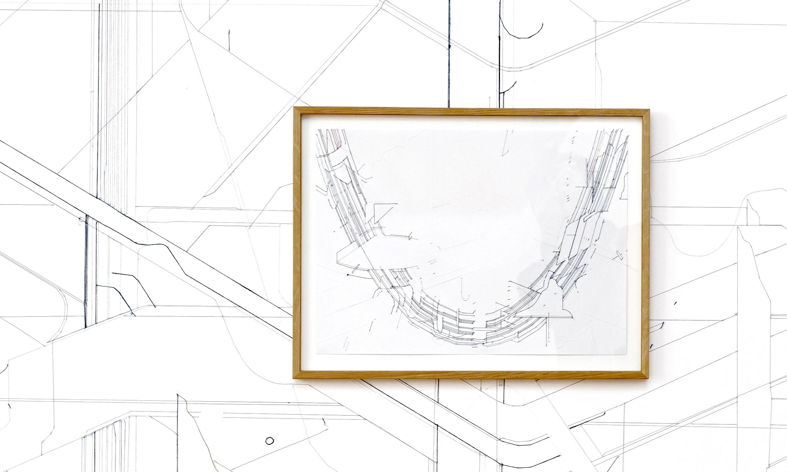 Keita Mori,  Bug Report (Catenary) #2 , 2016. Fil de coton et fil de soie sur papier, 39 cm x 51,5 cm