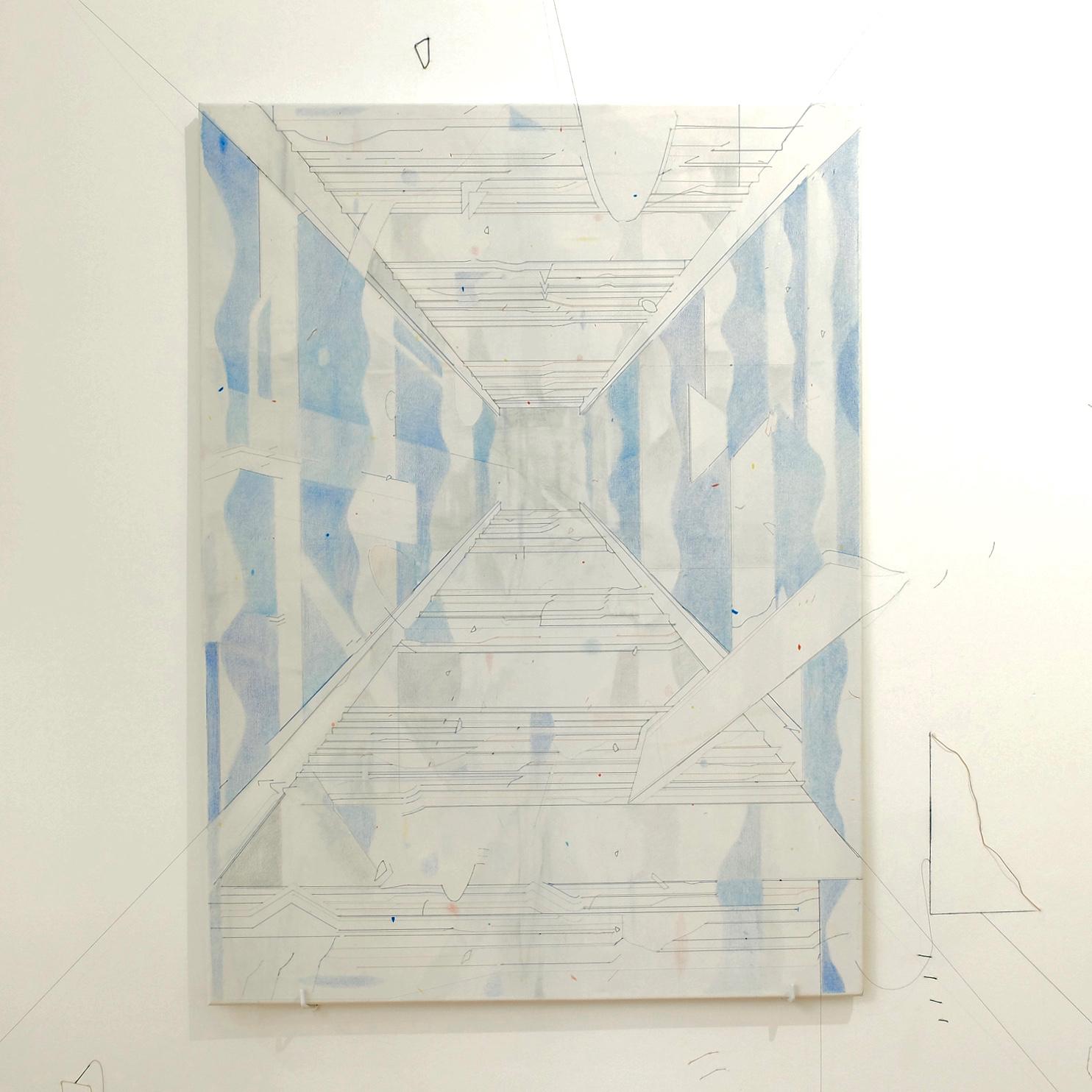 Keita Mori,  Bug Report (Potemkim stairs) , 2016. Fil de coton et fil de soie, acrylique, Caran d'Ache sur toile, 100 cm x 70 cm