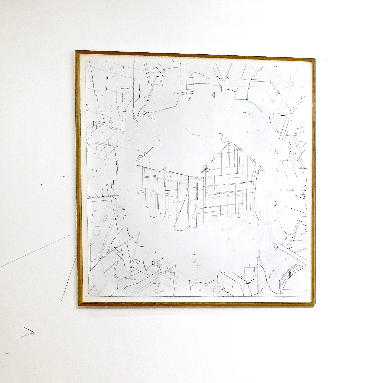 Keita Mori,  Bug Report #5 , 2015. Fil de coton et fil de soie sur papier, 84 cm x 84 cm