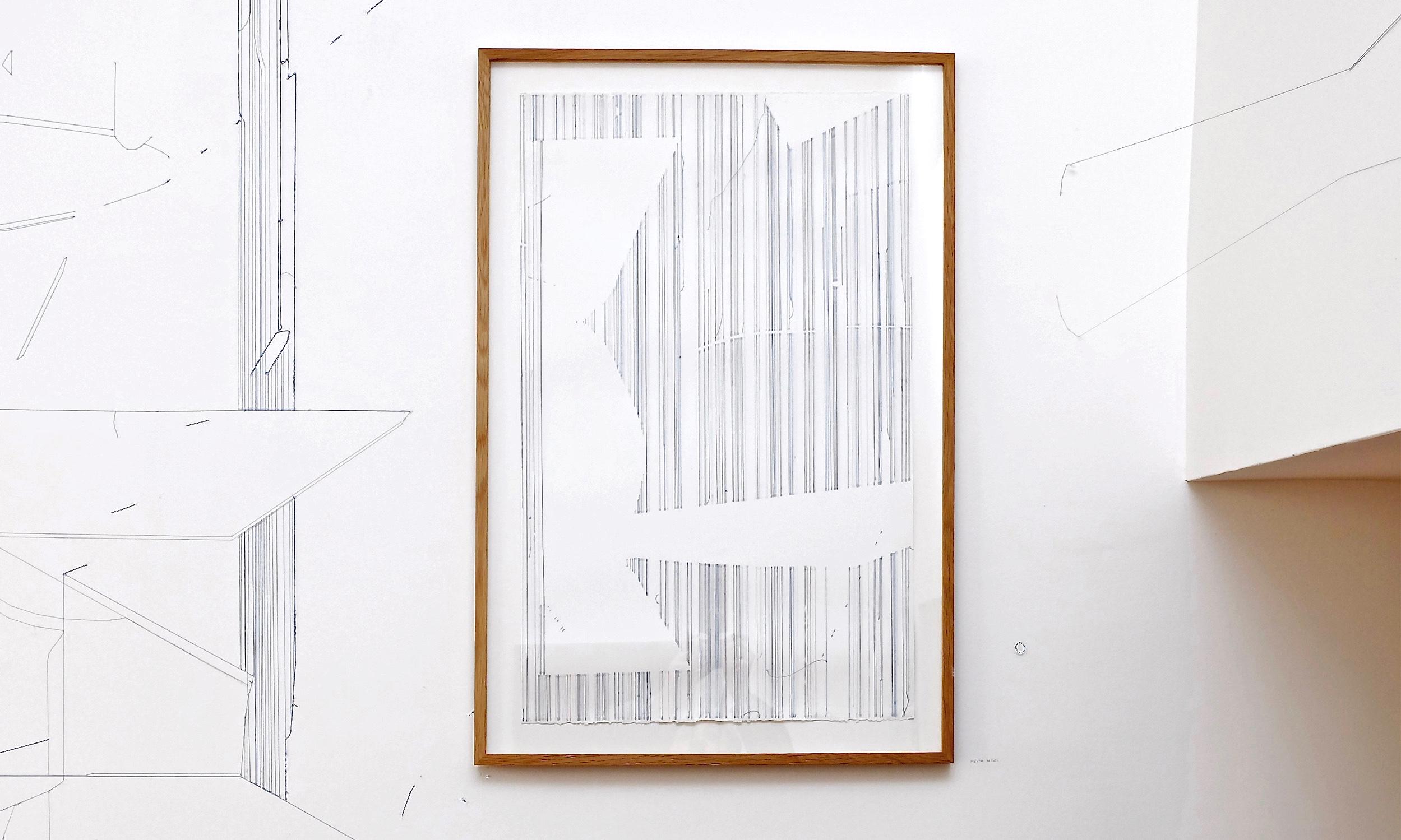 Keita Mori,  Bug Report (ocean) , 2017. Fil de coton et fil de soie sur papier, 76 cm x 50 cm