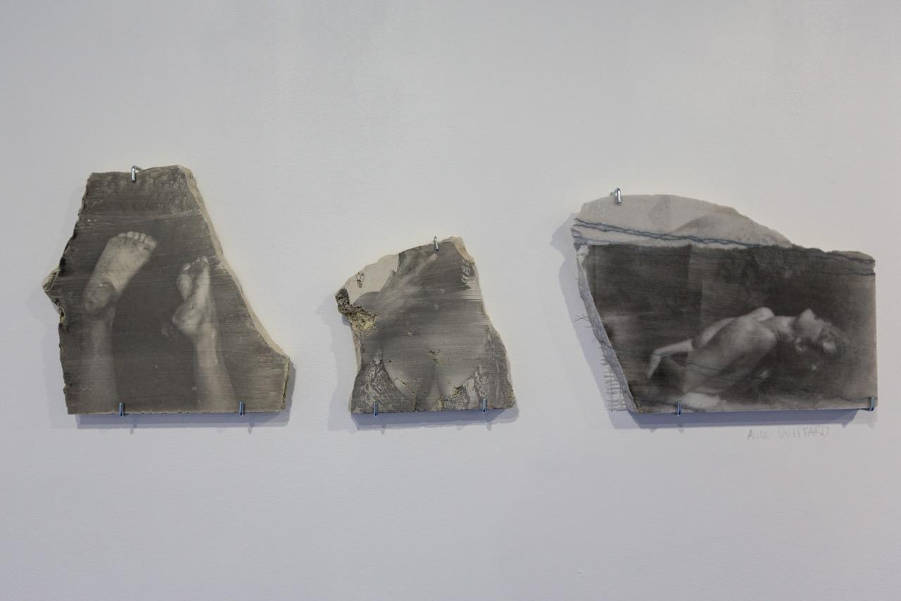 Vue d'ensemble des oeuvres d'Alice Guittard (de g. à d.  Le Loup , émulsion photosensible sur pierre, 23 cm x 23 cm x 2,5 cm,  Sunneva , émulsion photosensible sur pierre, 15,5 cm x 17 cm x 2,5 cm,  Chloé au Prado , émulsion photosensible sur pierre, 29,5 cm x 21 cm x 2,5 cm), 2017