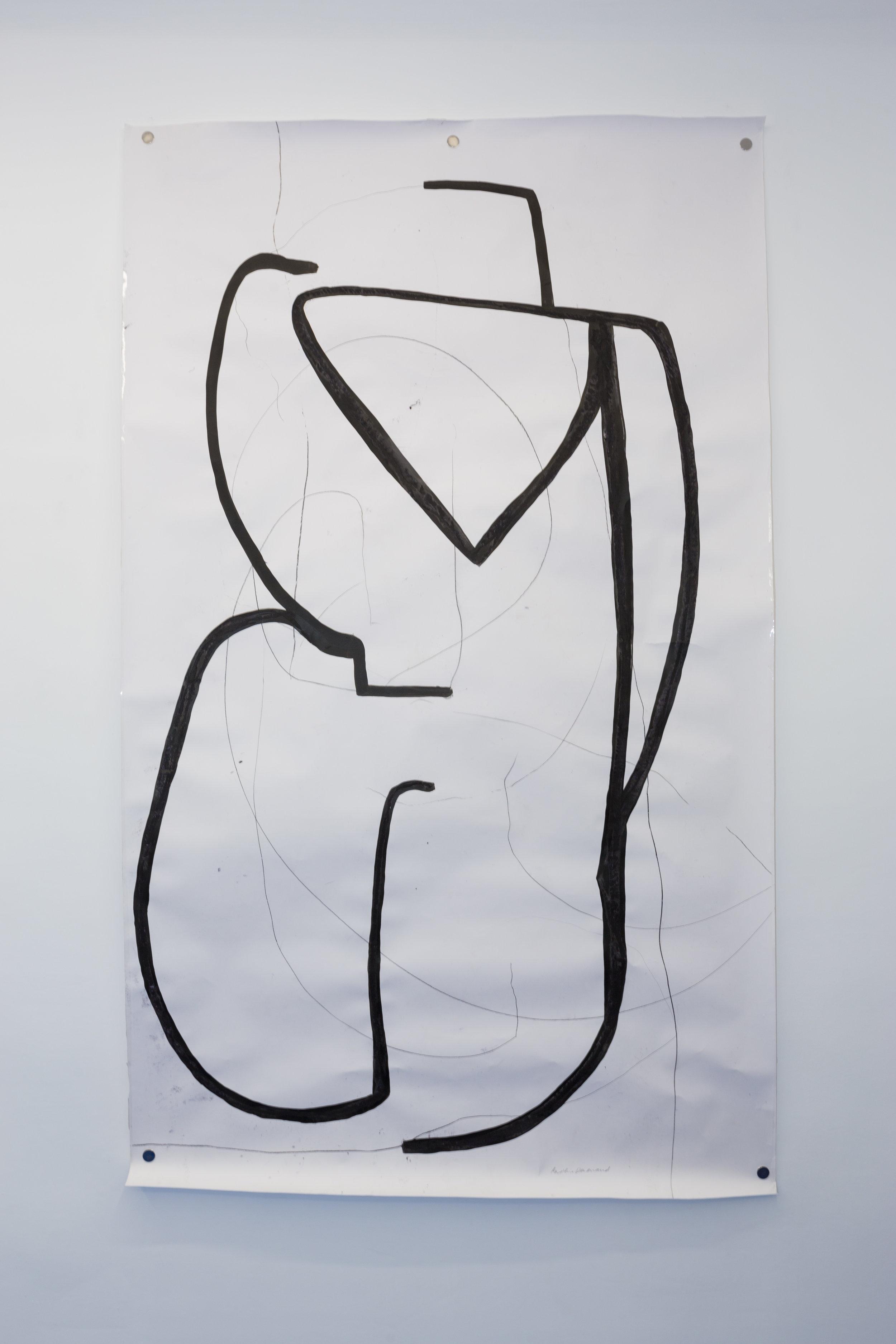 Caroline Denervaud,  L'homme ancré , 2017. Encre et pastel sur papier, 150 x 250 cm