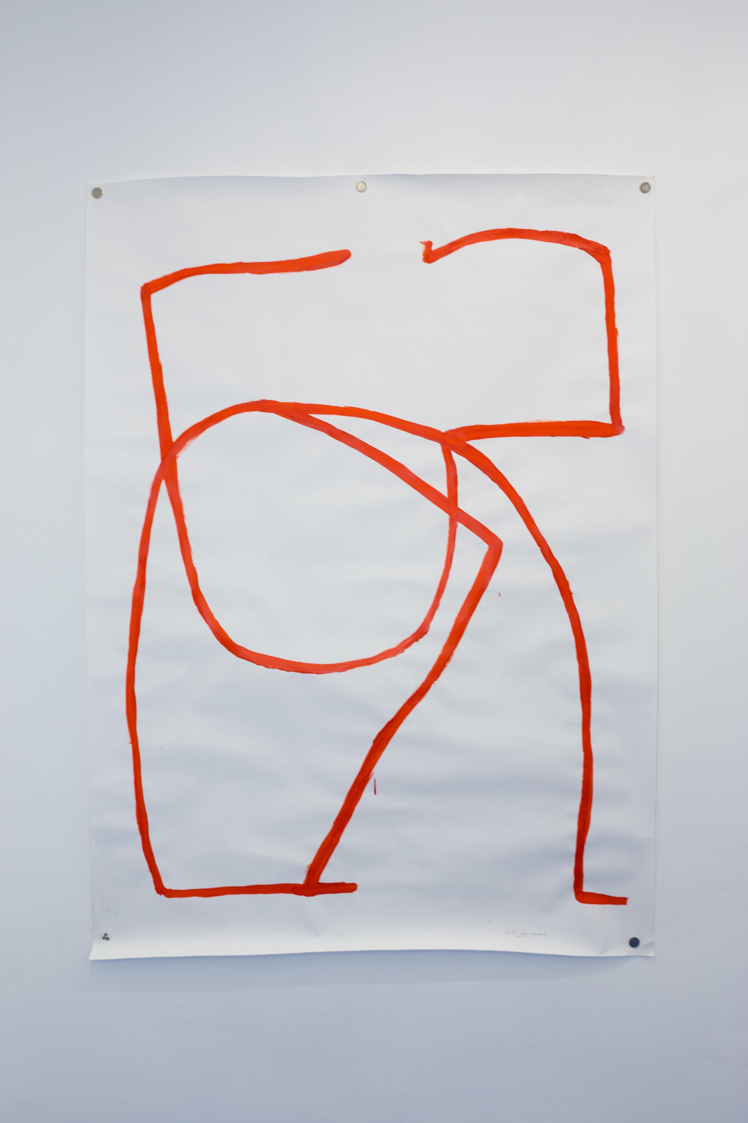 Caroline Denervaud,  L'homme rouge , 2017. Acrylique sur papier, 150 x 205 cm