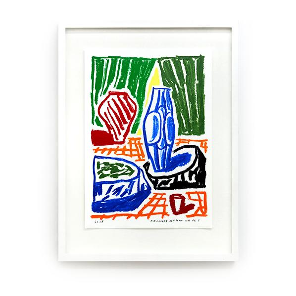 Alexandre Benjamin Navet_ la terre cuite et le vase bleu, 2018_Double V Gallery.png