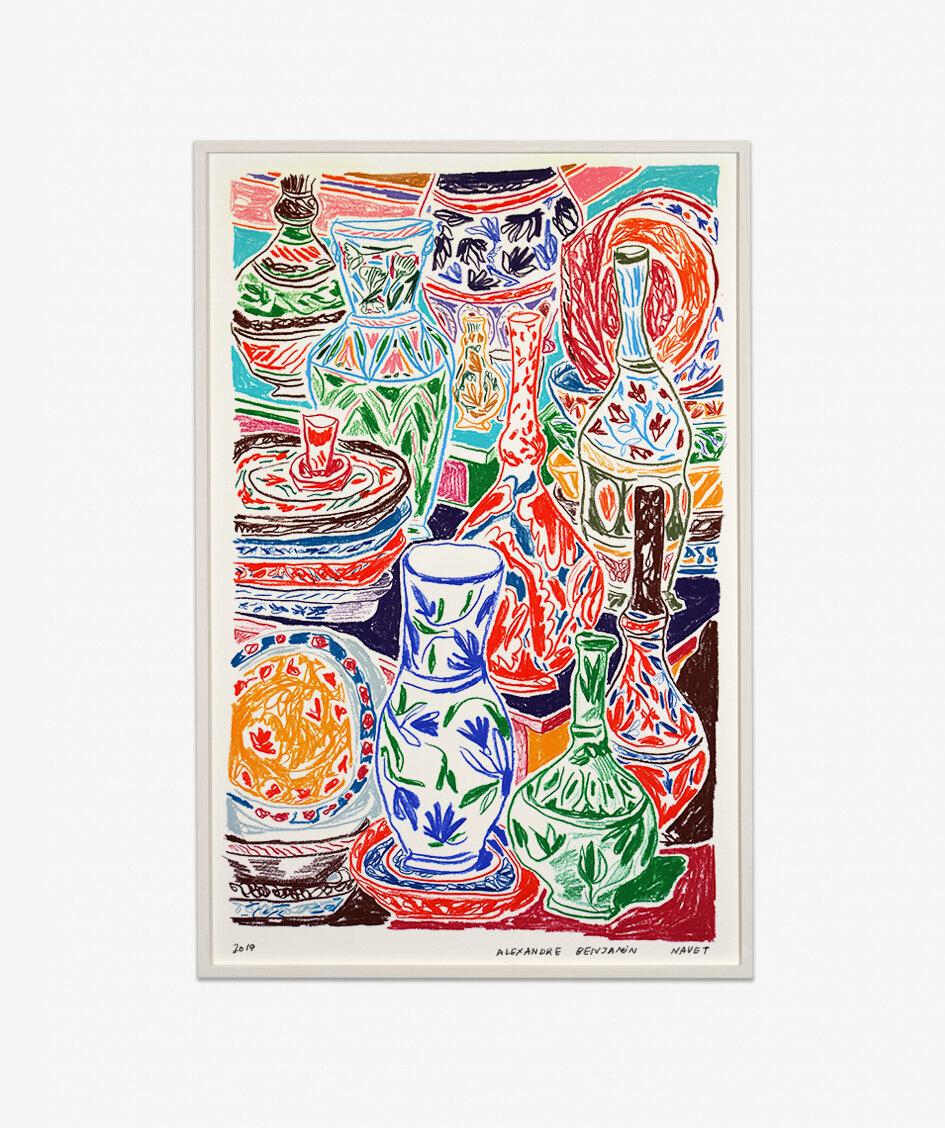 Alexandre Benjamin Navet  Le Grand Bazaar, 2019  Pastel à l'huile et crayon sur papier fine art 350 g.  65 x 100 cm  Encadrement bois naturel peint en blanc  Prix sur demande :  nicolas@double-v-gallery.com