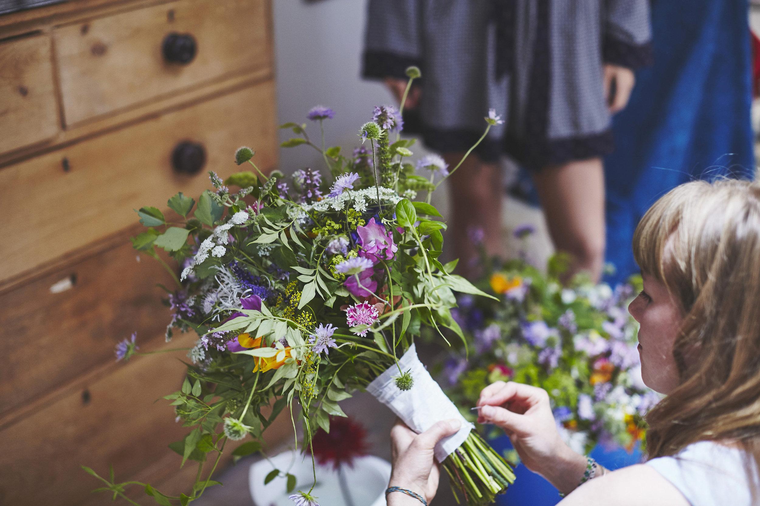 Bridal bouquet final prep for a Henley wedding