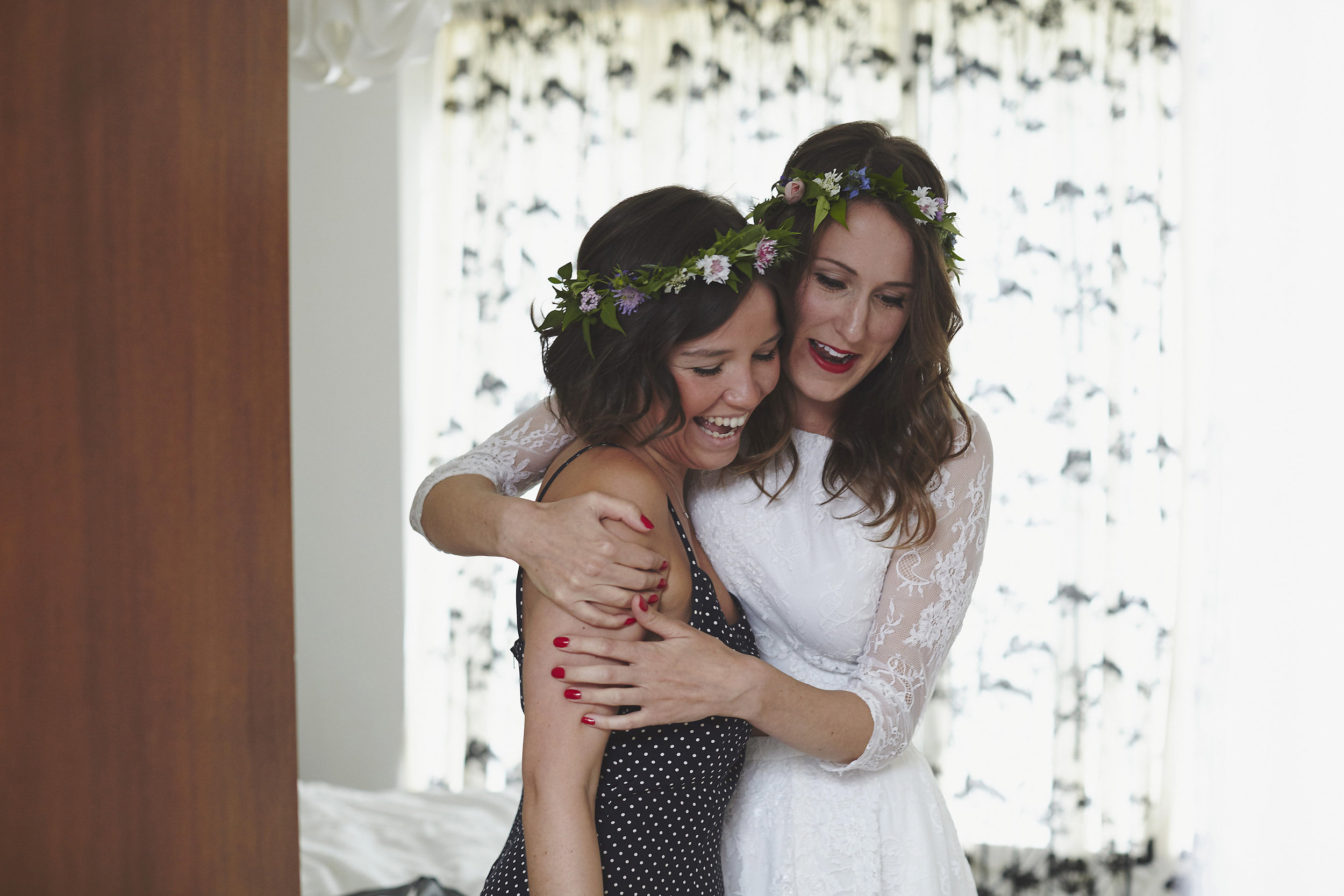 Flower crowns for bride and bridesmaids