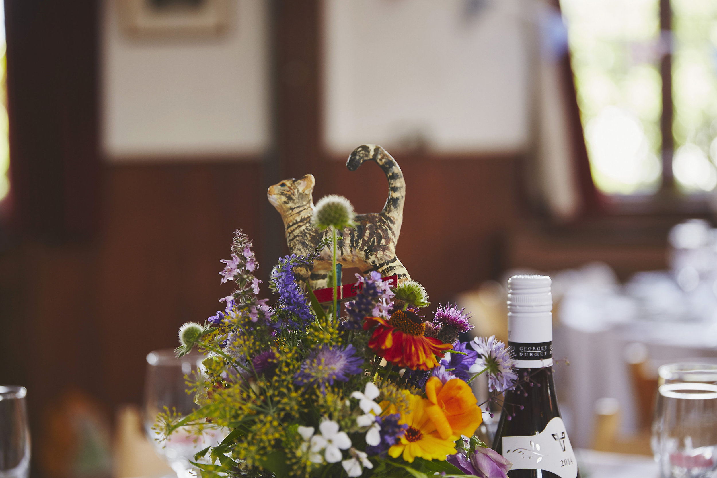 Table arrangement with bespoke cat!