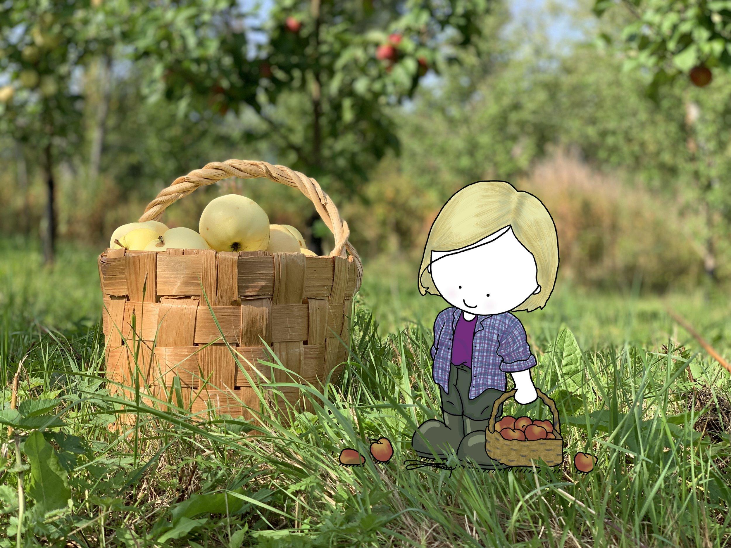 A self-portrait. It is apple pickin' season and I am loving it!