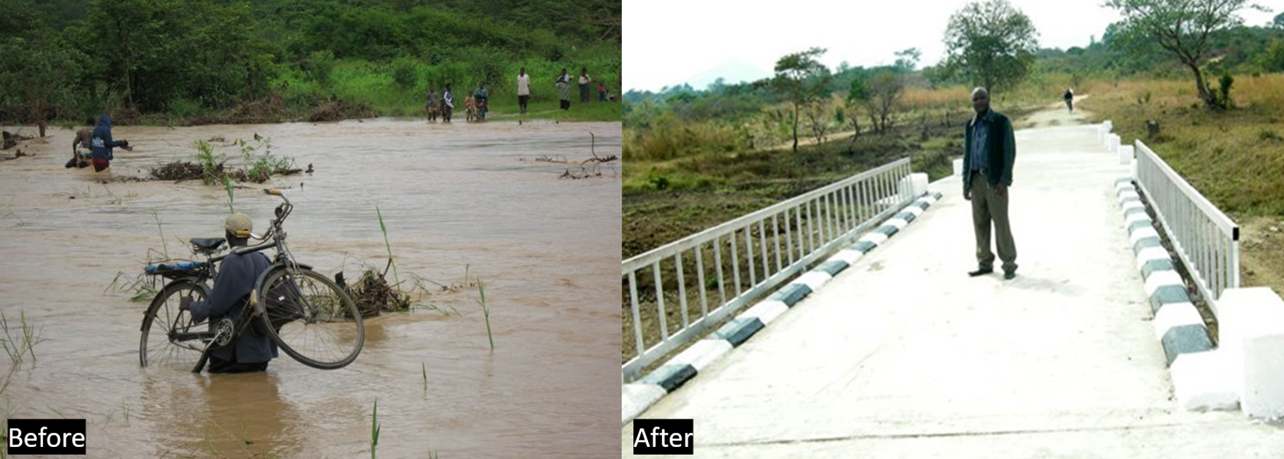 Before and after the bridge was constructed