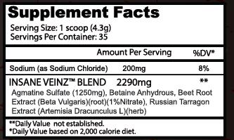 Insane Labz Insane Veinz — SupZilla - Health & Fitness Supplements