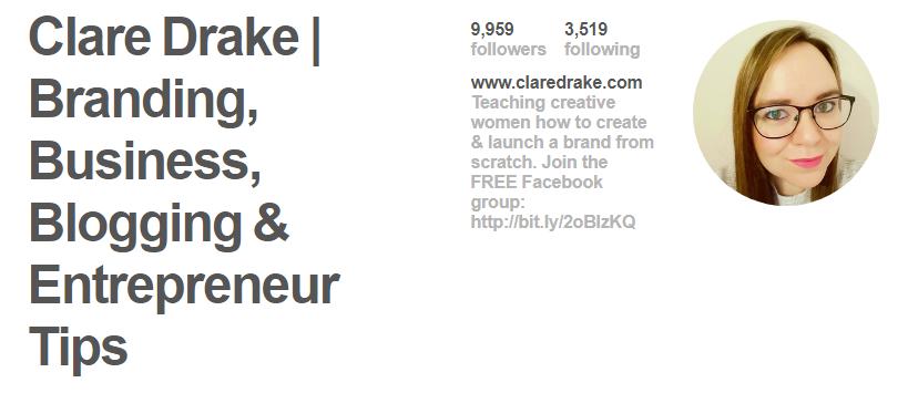 Clare Drake Pinterest Bio
