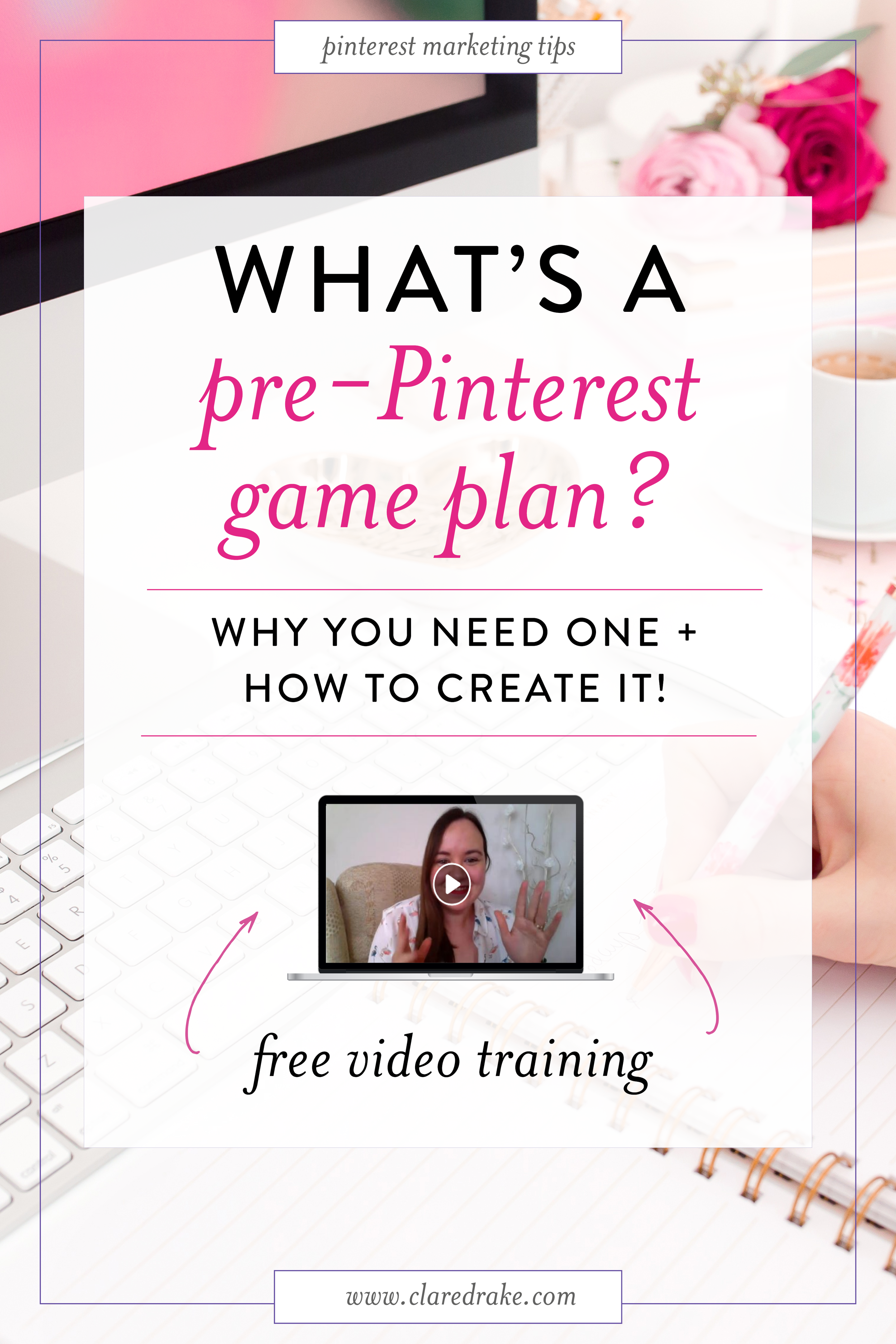 This is the #1 thing you need to do  before  you start using Pinterest for your business - and that is mapping out your Pre-Pinterest Game Plan! Get started now with this free 10 minute training! #pinterestforyourbusiness #pinterestmarketing #pinteresttips #pinterestforbusinesstips #pinterestgameplan #pintereststrategy