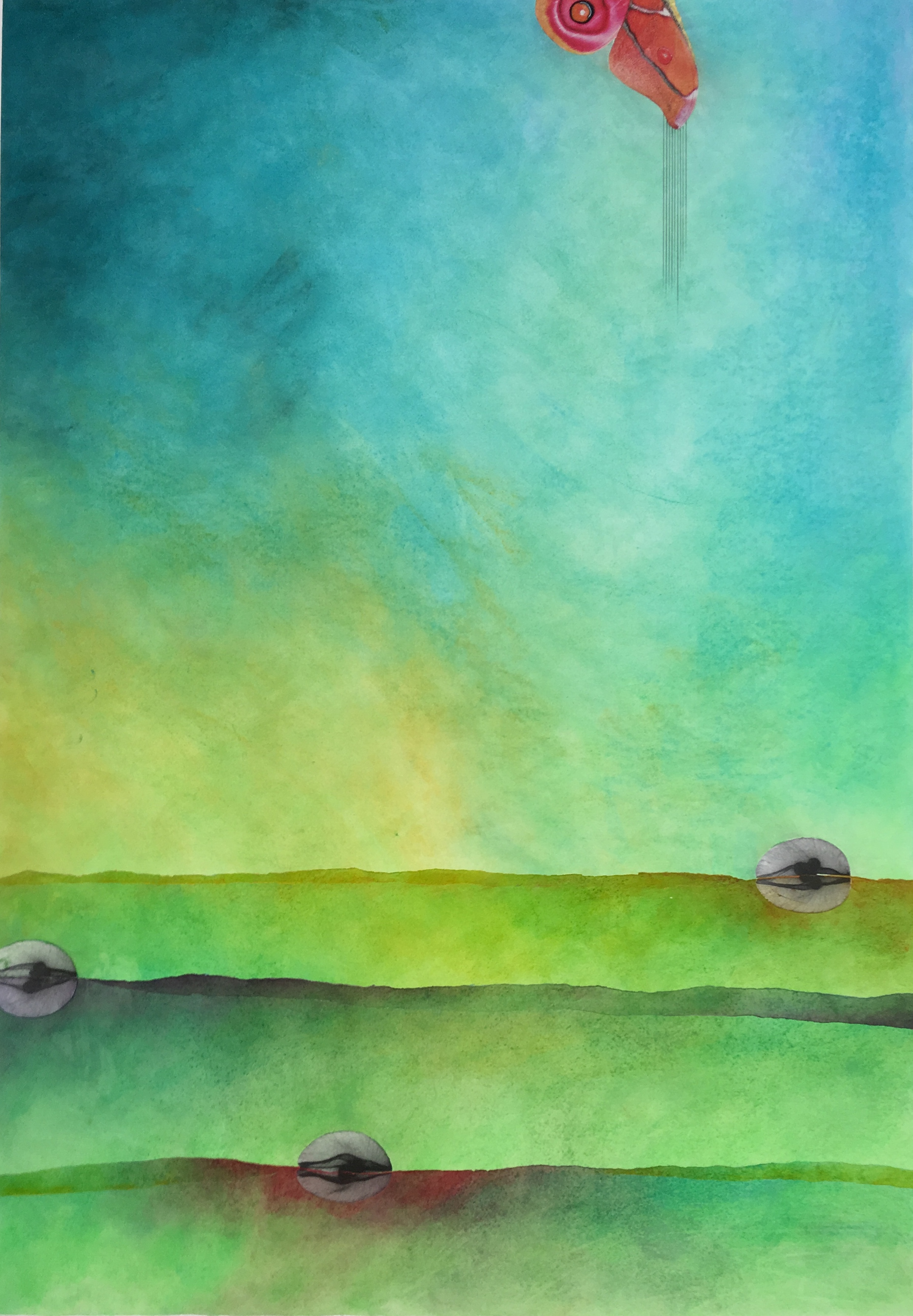 """RECIEVE.  mixed media on paper 44""""W x 58""""h to edge of paper"""