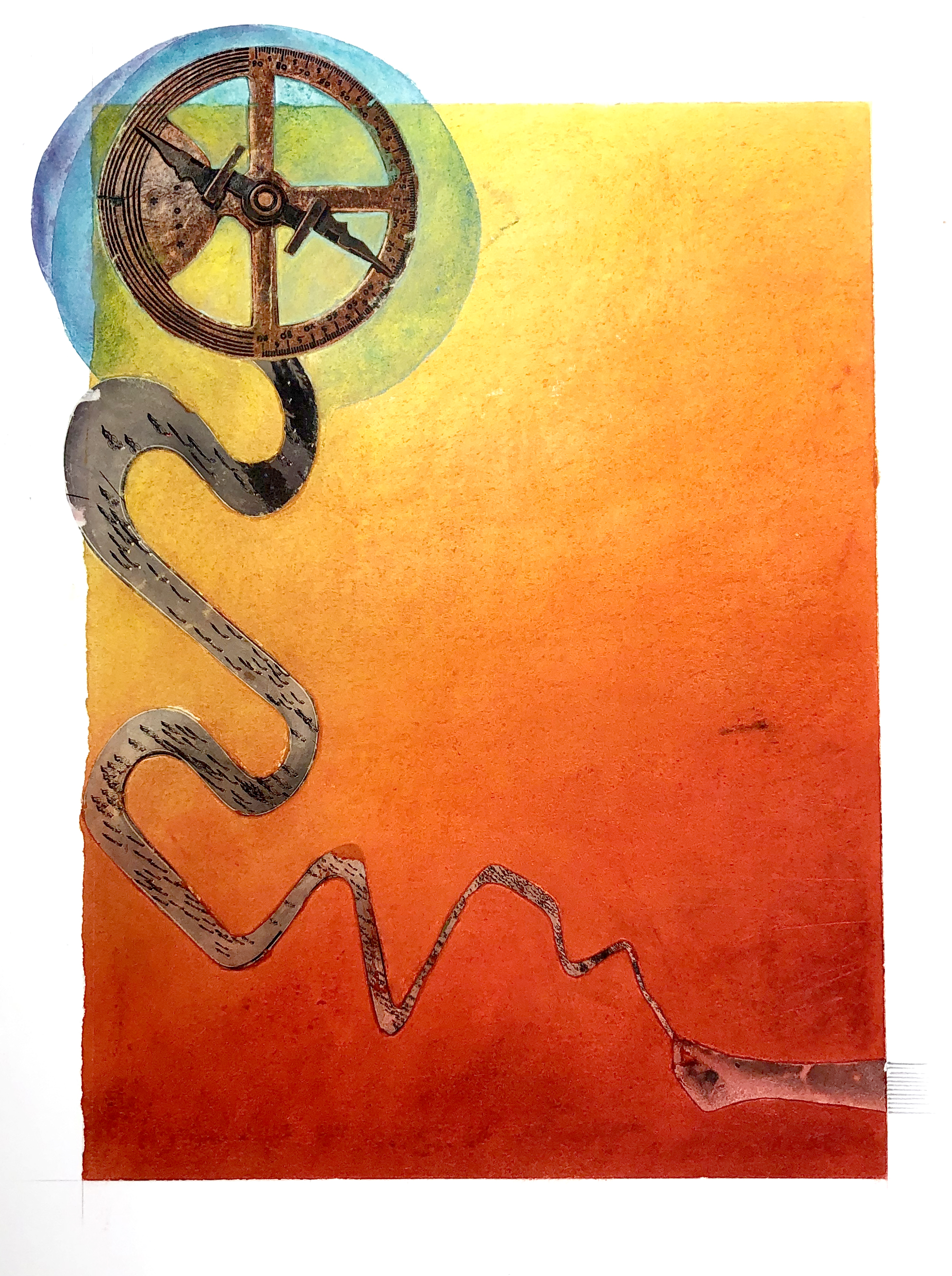 """THINK BIG.  mixed media on paper 12""""w x 16""""h to edge of paper"""