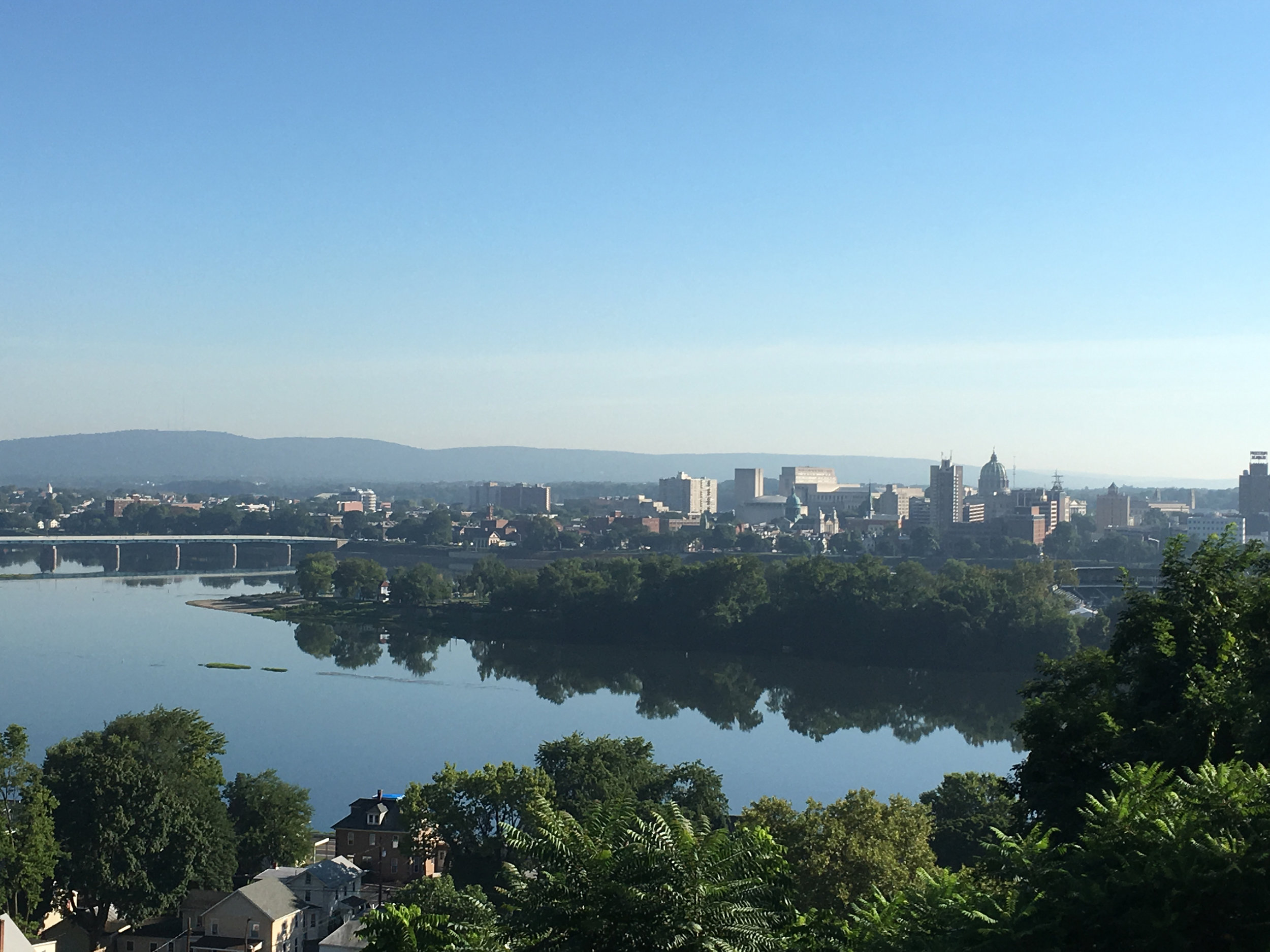 Harrisburg and the Susquehanna River from above Negley Park in Lemoyne