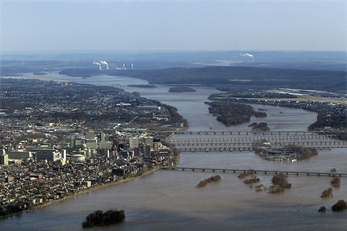 Aerial view of Harrisburg and the Susquehanna River (courtesy PennLive)