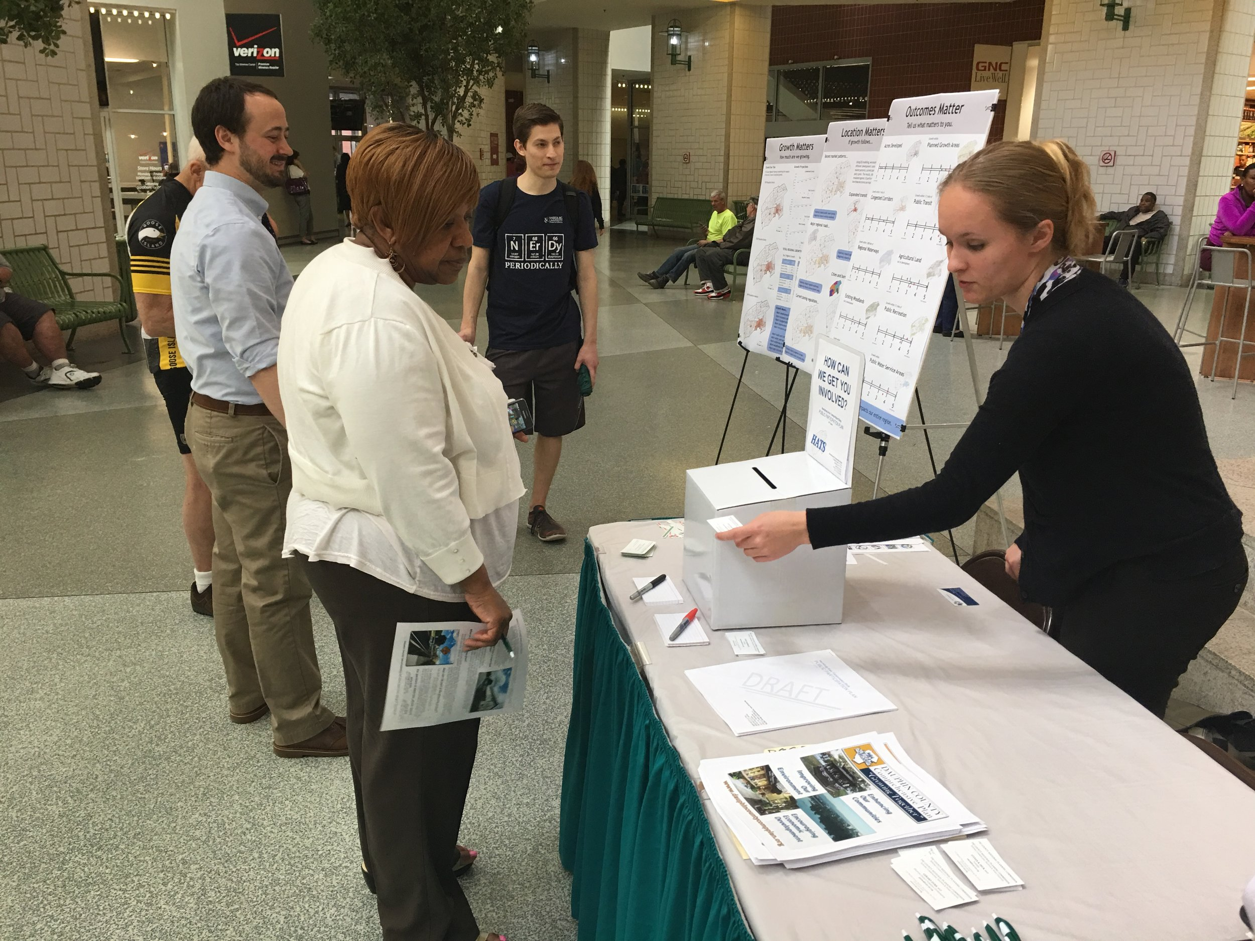 Visitors to a 4/12/17 outreach event at Strawberry Square in downtown Harrisburg were interested to hear about the online draft of Dauphin County's Comprehensive Plan and how they could share their views and comments.
