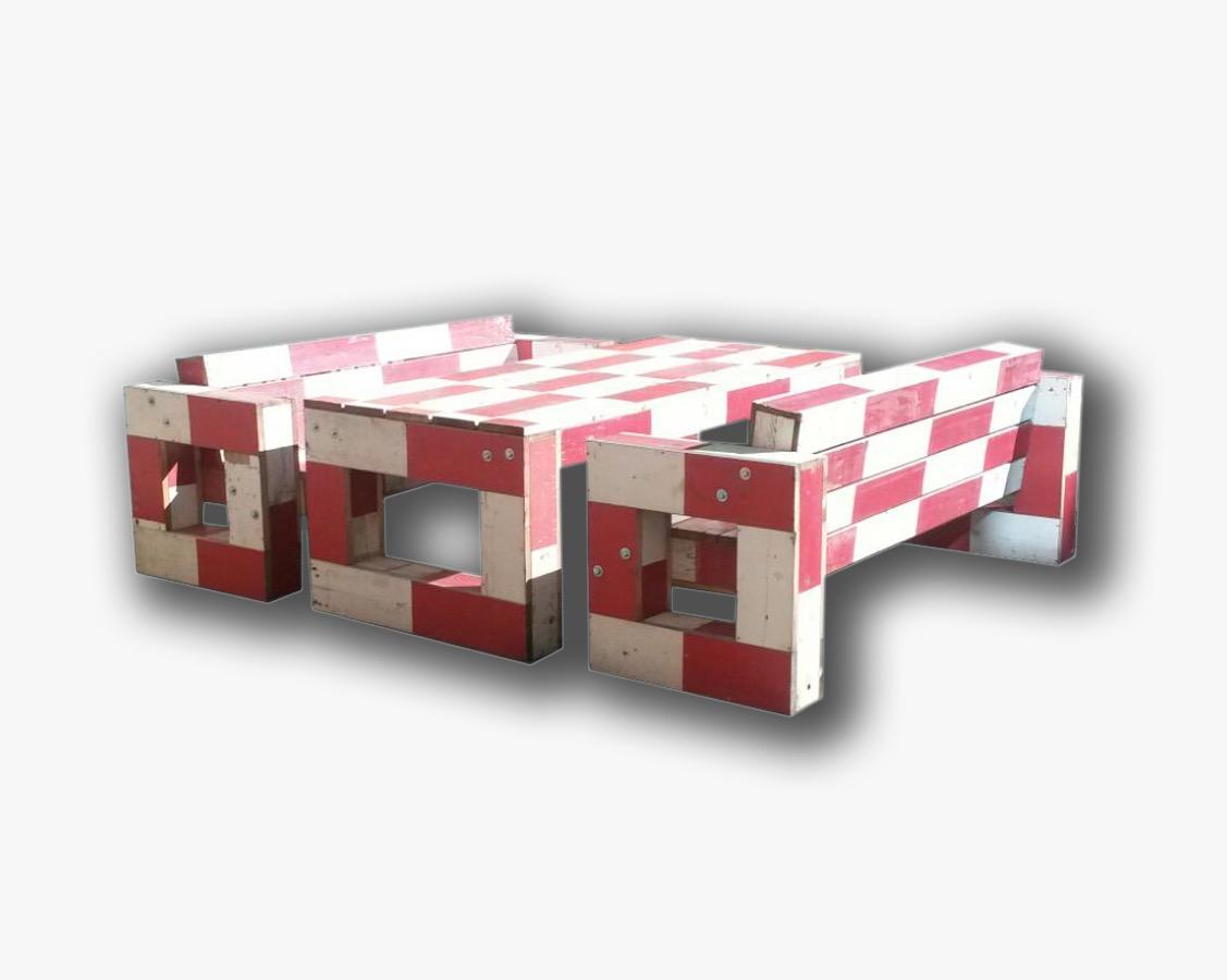 van de bouwplaats circulair spoorbalken rood wit loungeset tuinset tafel banken bank