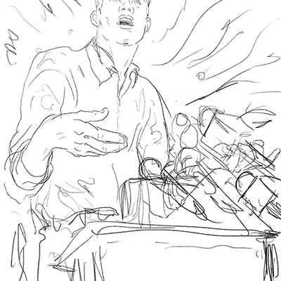 2 - A direct narrative approach - a confident charismatic speaker.