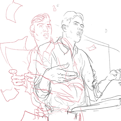 3 - A drawing of two realities - the confident, comfortable speaker. And the Nervous, fumble-y speaker.