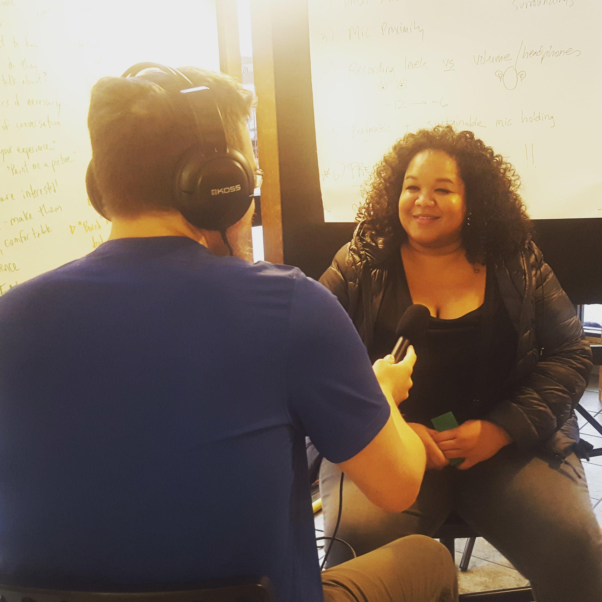 John Walker interviews Lulu Carpenter in an interviewing workshop at Shelf Life