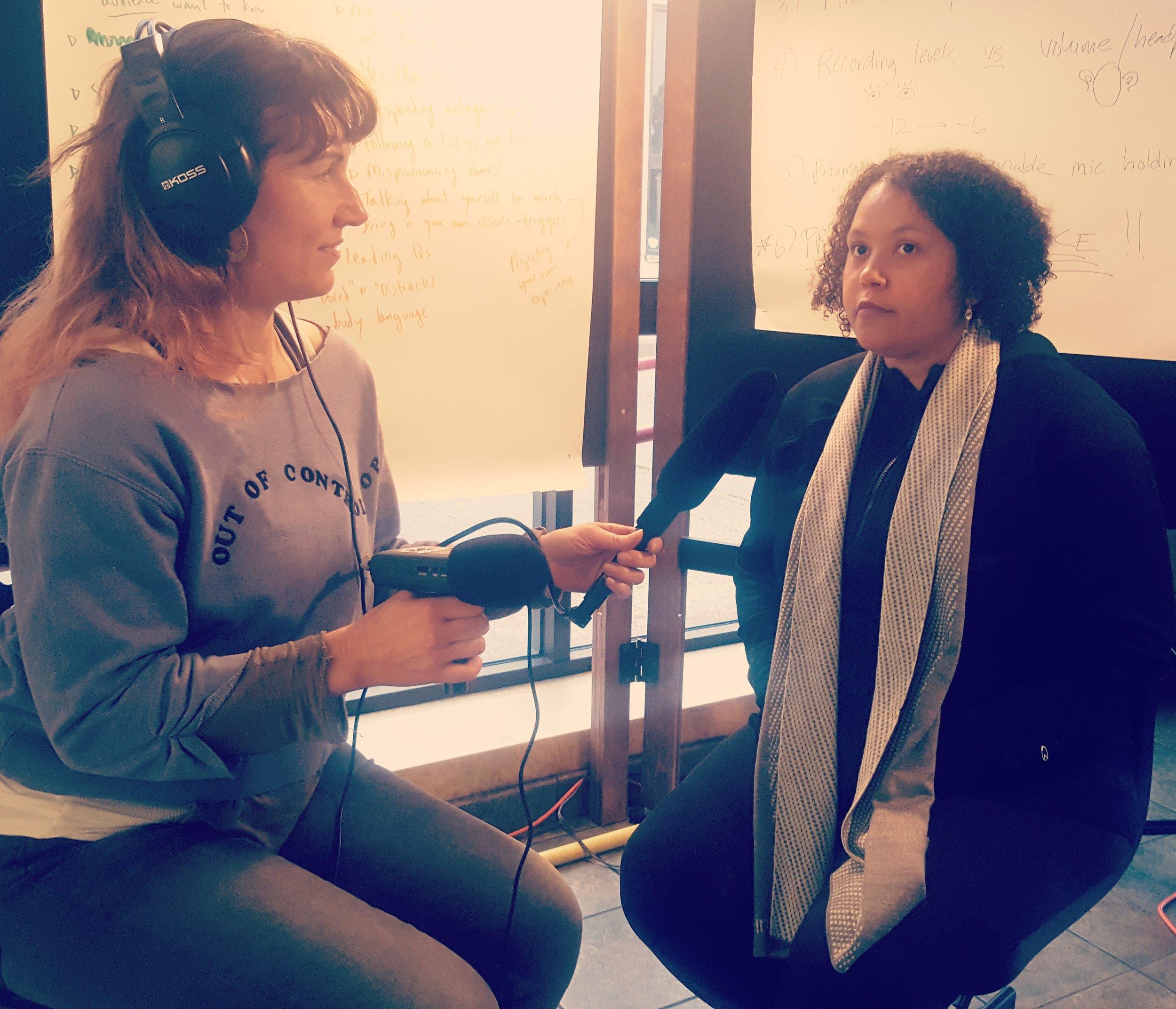 Rachel Kessler interviews Leilani Lewis in an interviewing workshop at Shelf Life.
