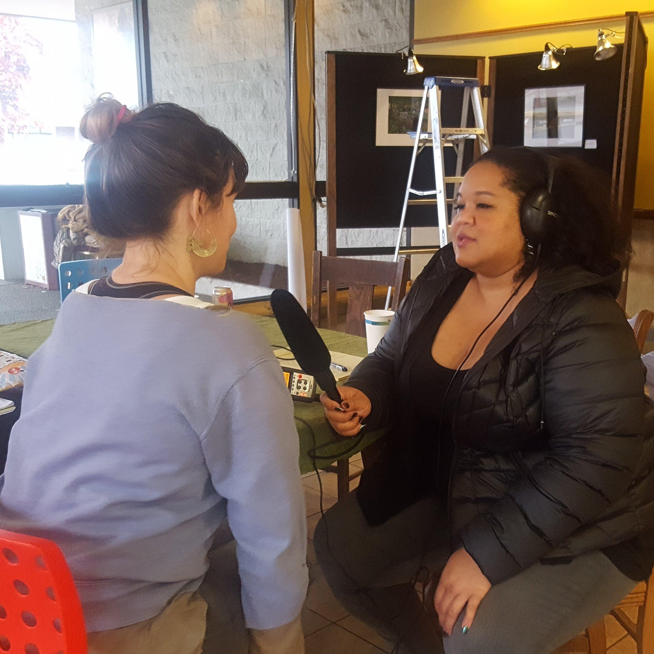 Lulu Carpenter interviews Rachel Kessler in an interviewing workshop at Shelf Life.