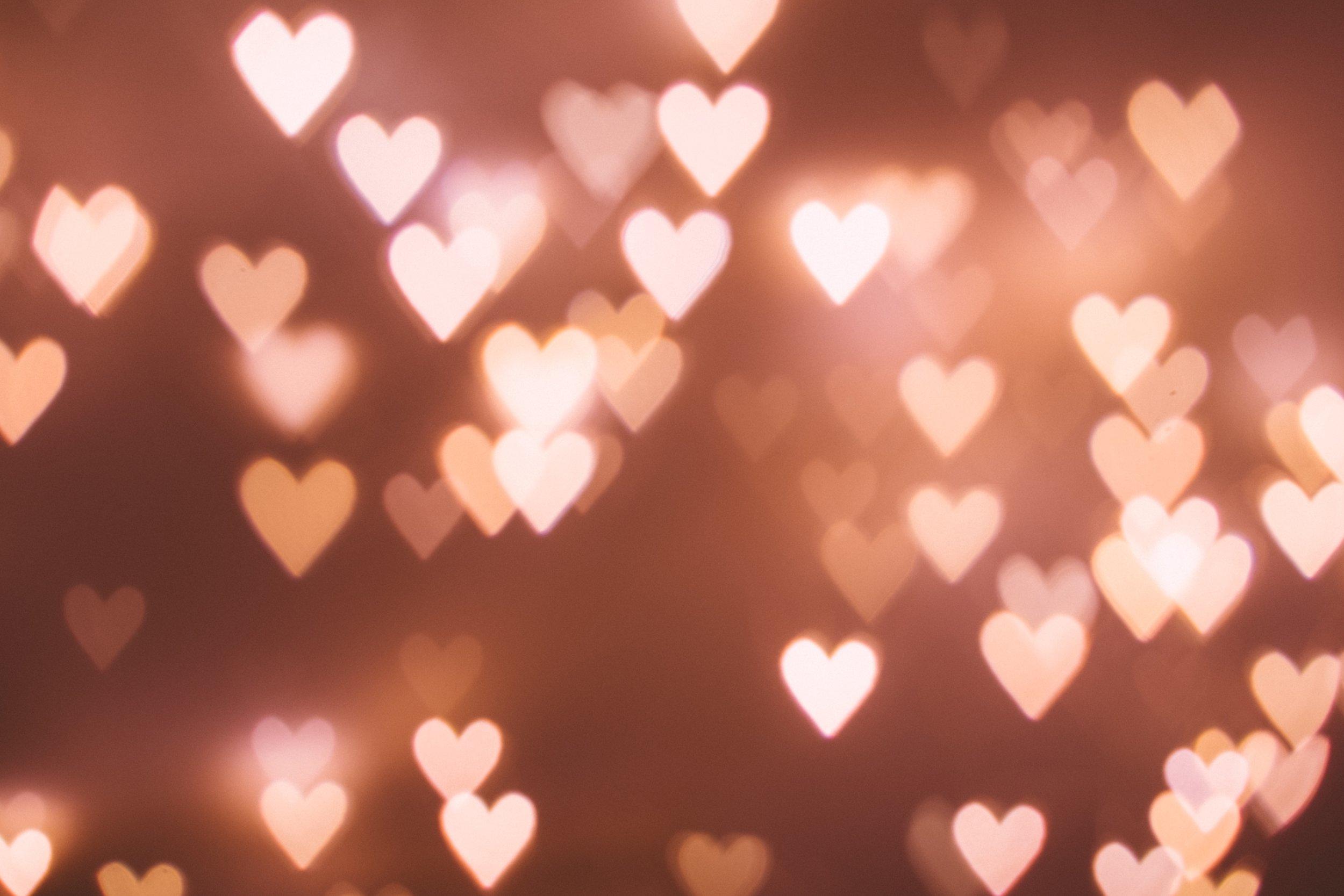 Tiny hearts floating.