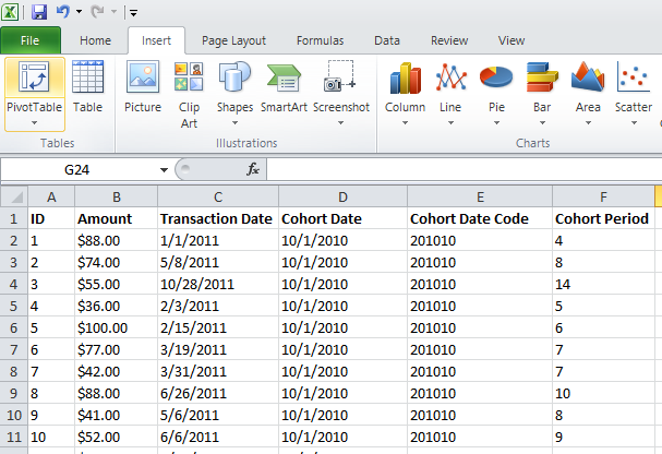 Excel Raw Data Screens