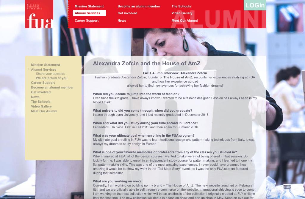 - FAST Alumni Interview: Alexandra ZofcinFlorence University of the Arts