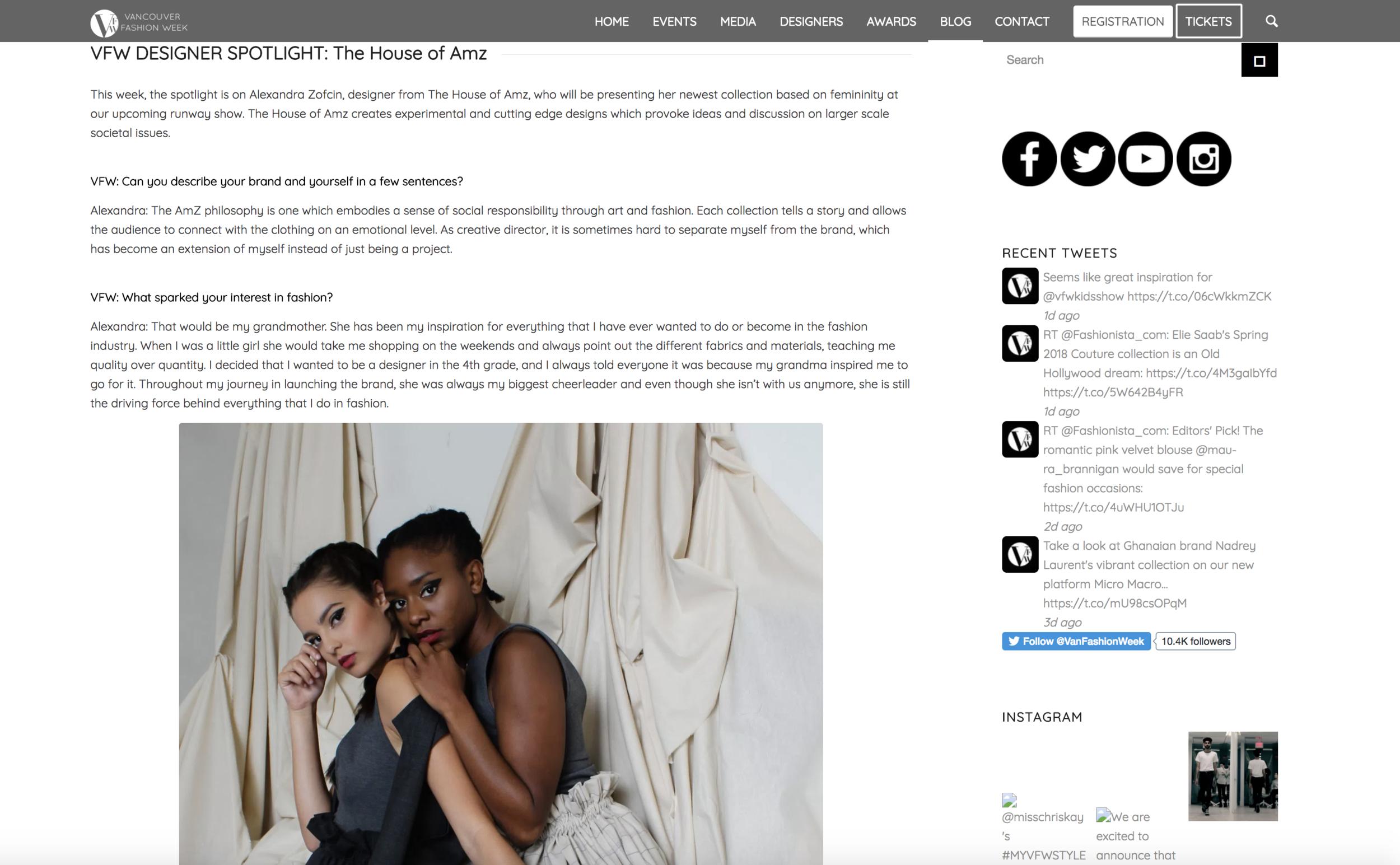 - VFW Designer Spotlight: The House of AMZ2018 Vancouver Fashion Week