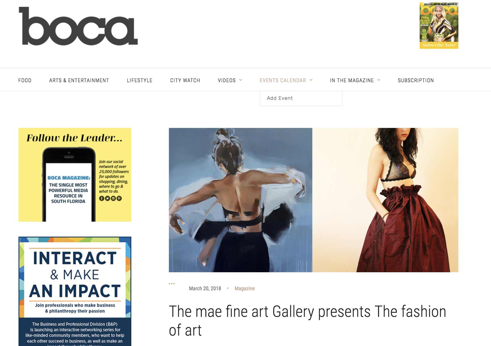 The Mae fine art Gallery presents The fashion of art | Boca Magazine