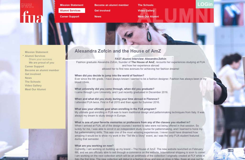FAST Alumni Interview: Alexandra Zofcin | Florence University of the Arts
