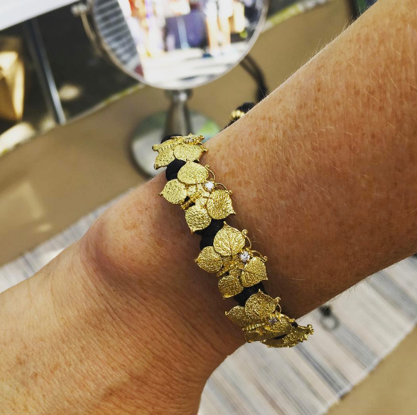 Yellow gold and diamond Aspen Leaf Butterfly bracelet.
