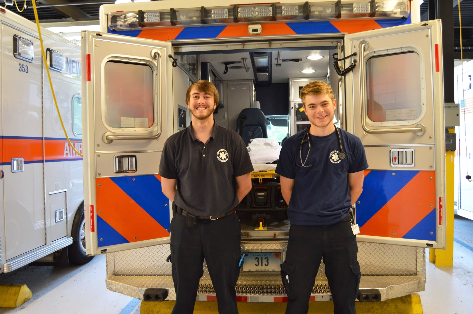Daniel Fairchild and Teddy Holappa at the   New Canaan Volunteer Ambulance Corps  .