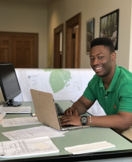 Josiah Jones working in the Public Works Department at Town Hall. Photo by Caroline Addeo