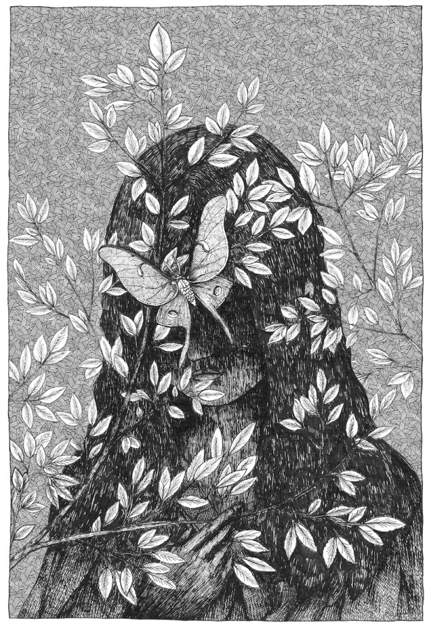 The Dark Mother is waiting for you. Illustration by Will Lytle, for the book Waking Up to the Dark by Clark Strand