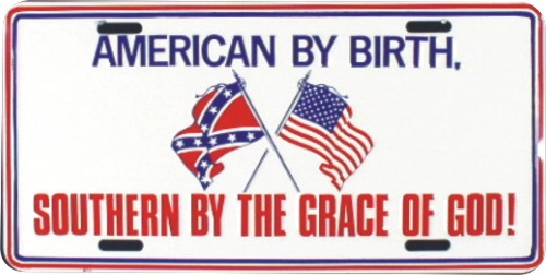 Bumper stickers and license plates like this were a dime a dozen when I was growing up.