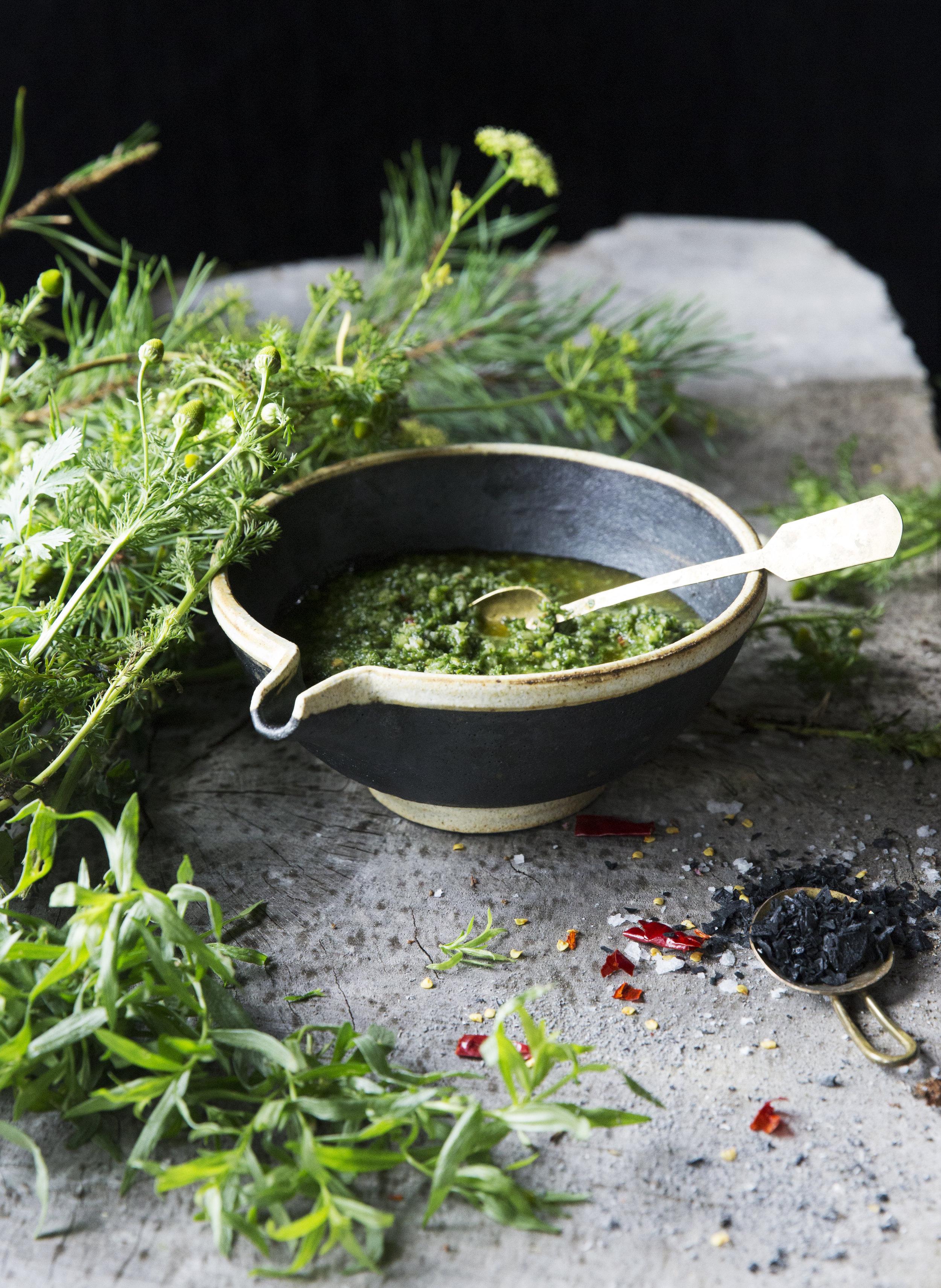 Salsa Verde with Ash Salt Toronto Food photographer