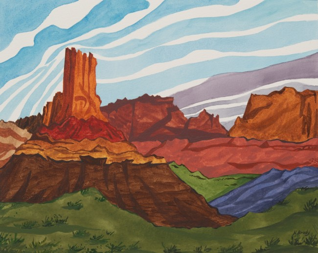 Detail of Potato Bottom Camp – White Rim Trail, by Nancy Brady