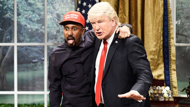 SNL Reenactment of the notorious meeting between Trump and Kanye | Image from  Yahoo Finance