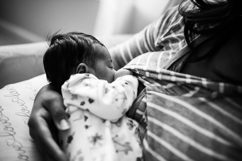 Newborn nursing in mother's arms