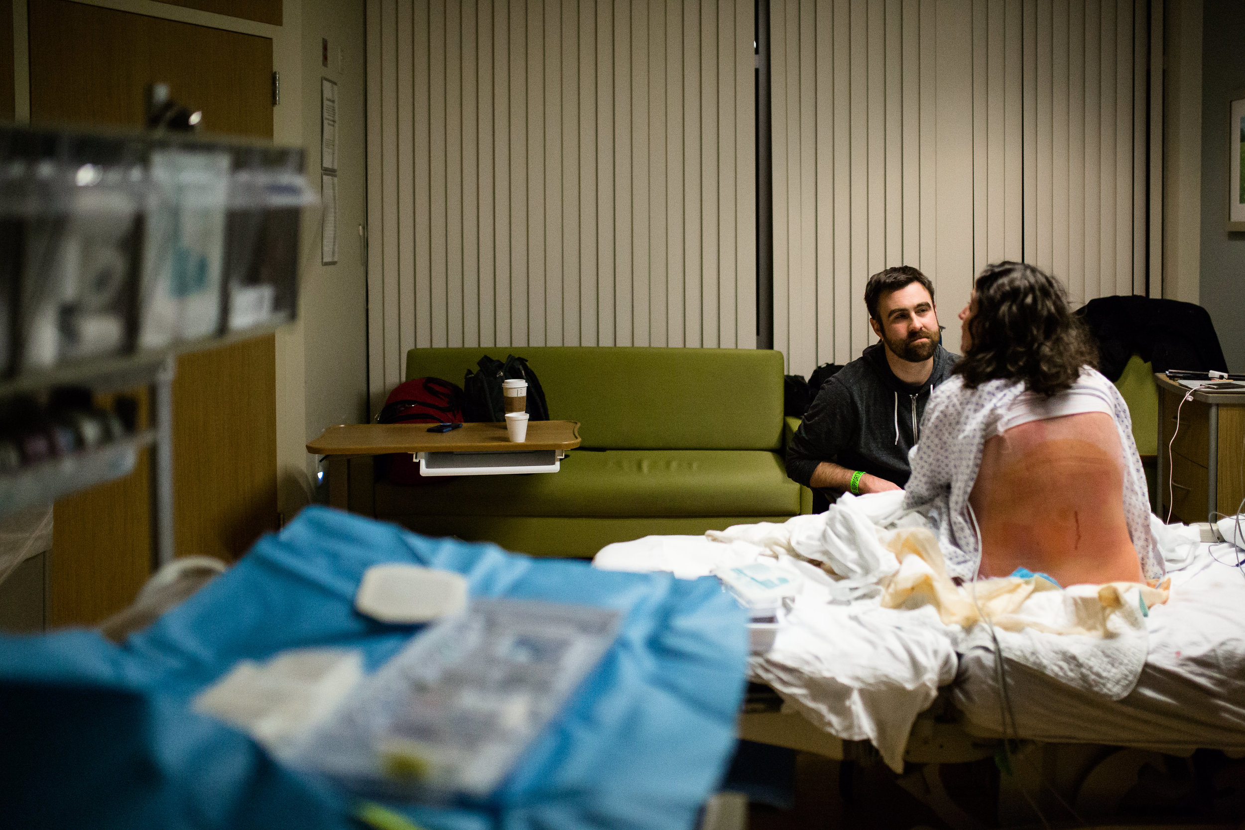 woman in labor waiting for an epidural