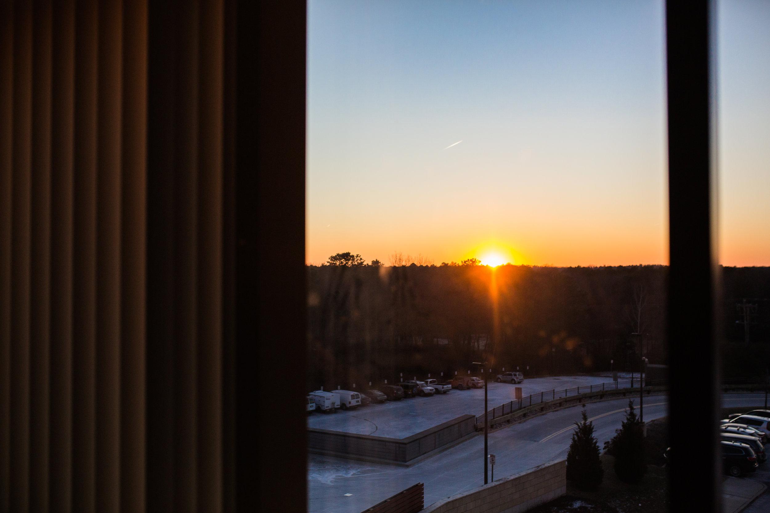 sun setting through hosipital window