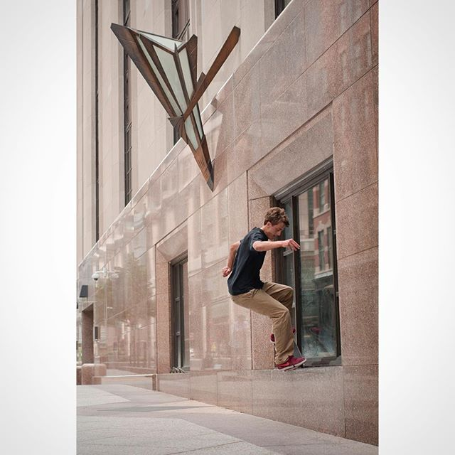 Henry Purple ( @purplehank ) Nosegrind pop out at the famous PJ Ladd window sill ledges. #granddaddypurps #boston
