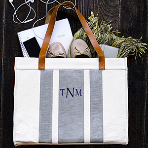 My Wedding Reception Ideas - Personalized Striped Grey Canvas Tote With Leather Handles ($29)