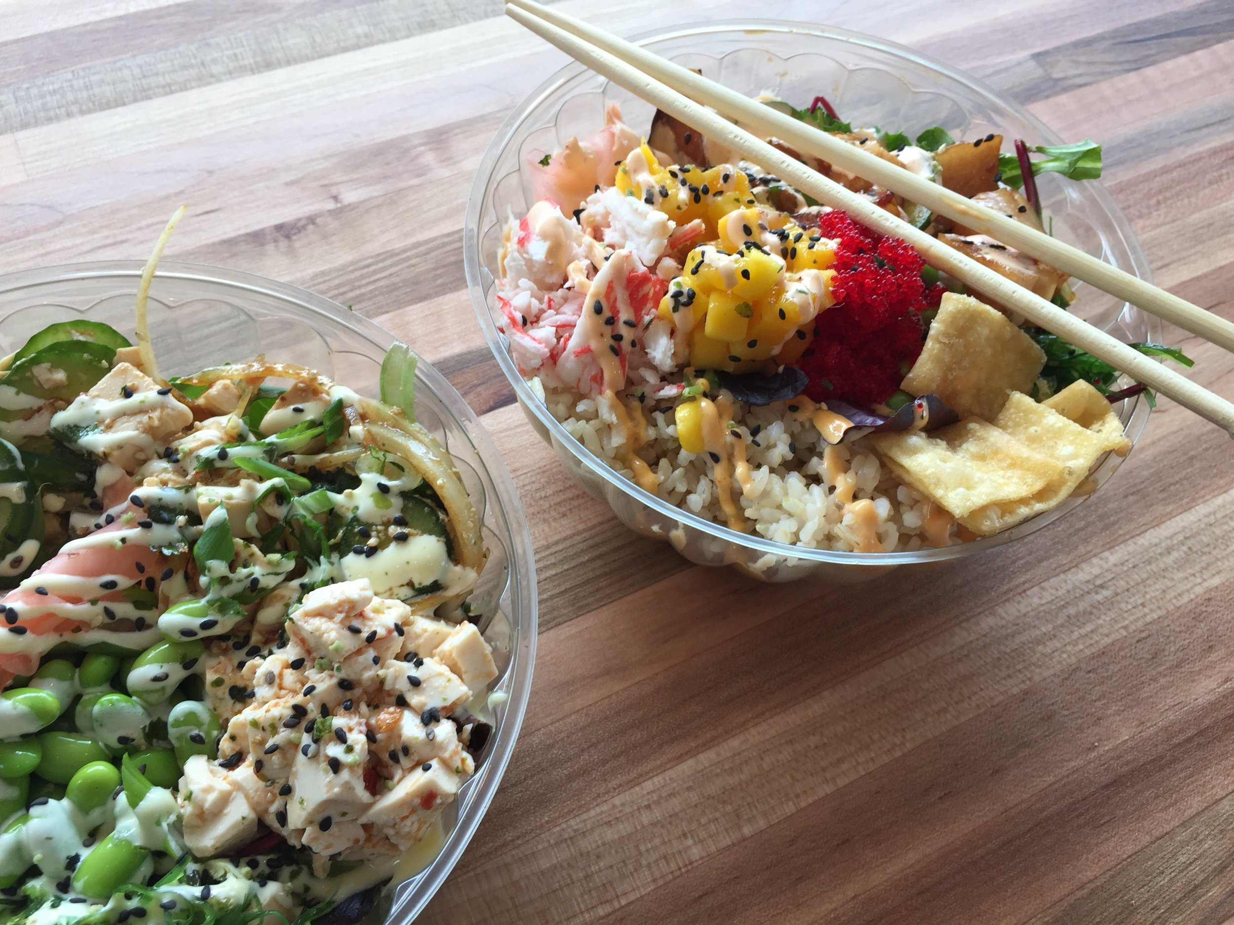 Poke Loa - Poke Loa bowls are served cafeteria-style which gives you a lot of control over what you put in them. Since I'm vegan, I skip the Poke all together (although they do have a tofu option), but I never feel like I'm missing out.