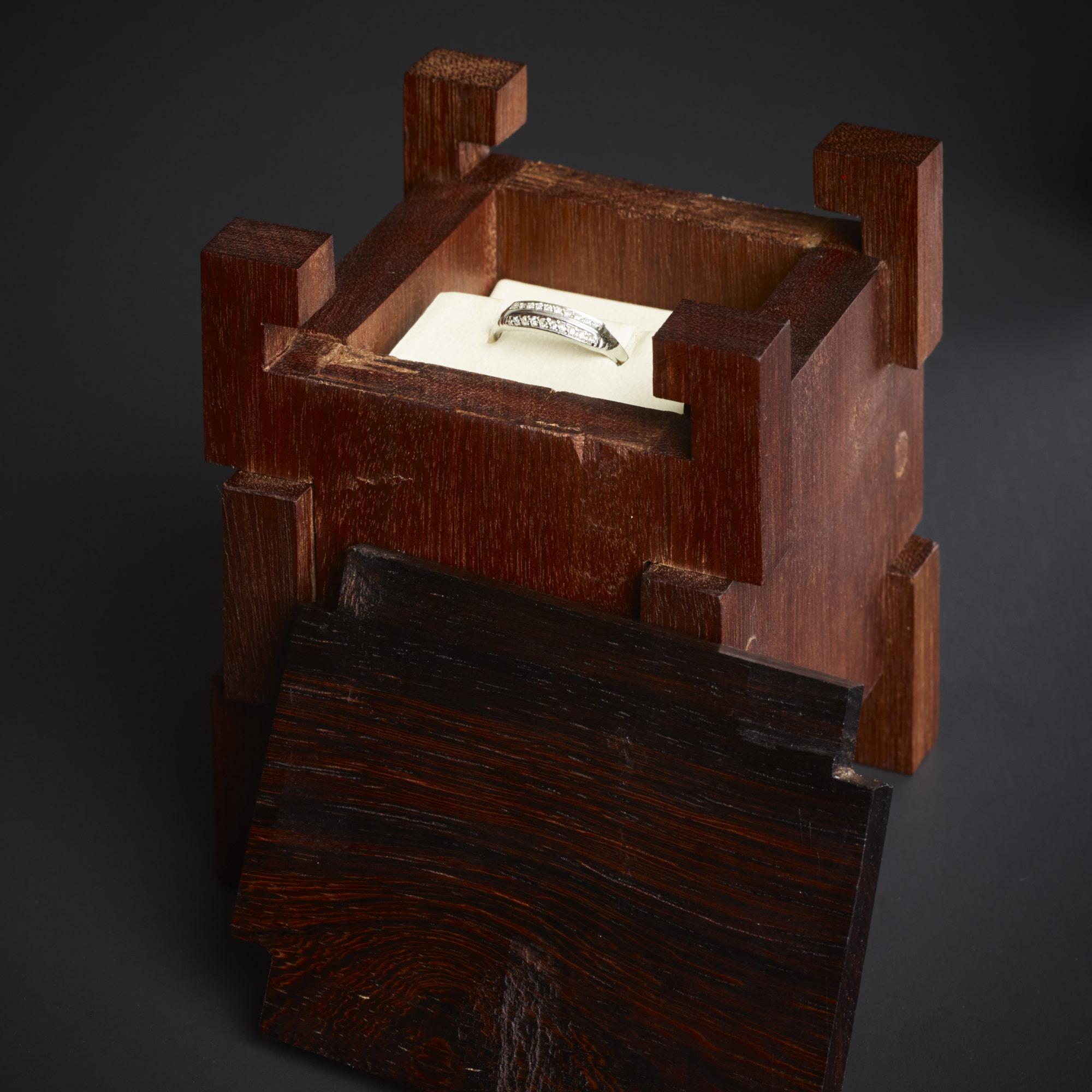 Harunobu Engagement Ring Box - 2014- HapaInaba Designs- Open- lid front.jpg